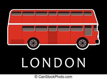 cor, decker dobro, vermelho, autocarro