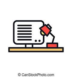 cor, desktop, trabalho, ícone