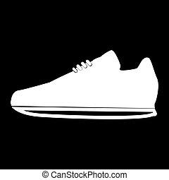 cor, desporto, ícone, sapatos, branca