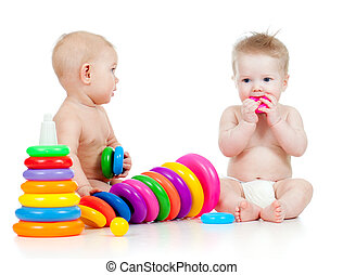 cor,  developmental, crianças, tocando, brinquedos