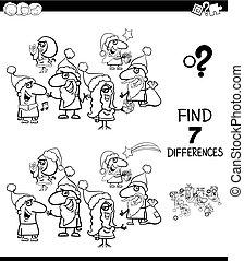 cor, diferenças, livro, achar, natal