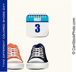 cor, diferente, sneakers