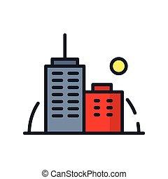 cor edifício, escritório, ícone