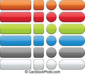 cor, em branco, buttons.