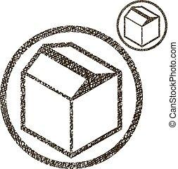 cor, embalagem, isolado, ícone, vetorial, simples, caixa, único, branca