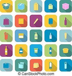 cor, embalagem, sombra, longo, ícones