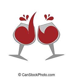 cor, emblema, com, copos de vinho