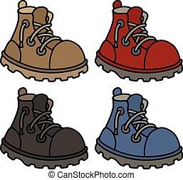 cor, engraçado, botas