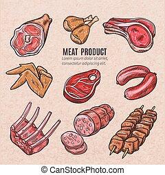 cor, esboços, produtos, carne