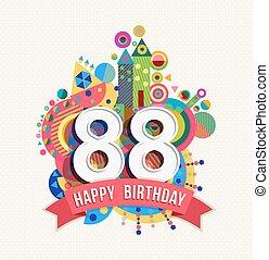 cor, feliz, cartão, aniversário, saudação, cartaz, 88, ano