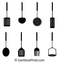 cor, ferramenta, pretas, ilustração, cozinha
