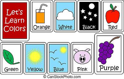 cor, flashcards, jogo