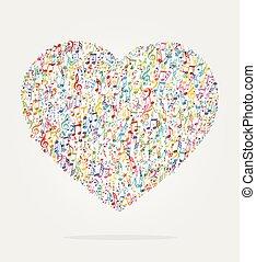 cor, forma coração, música