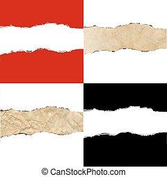 cor, fronteiras, papel rasgado