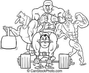 cor, ginásio, livro, atletas, caricatura
