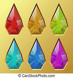 cor, gota dágua, dado forma, pedra preciosa, vetorial,...