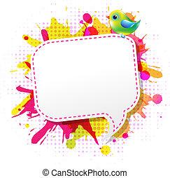cor, grunge, cartaz, com, abstratos, borbulho fala, com, pássaro