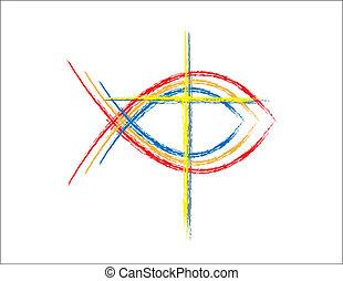 cor, grunge, peixe, cristão, símbolos