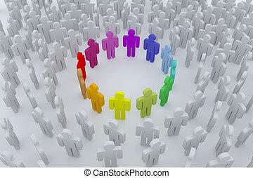 cor, grupo, torcida, pessoas