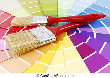 cor, guia, amostra, e, pintar escova