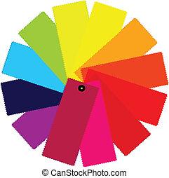 cor, guia, ilustração, espectro