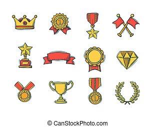 cor, handdrawn, jogo, vencedores, ícones
