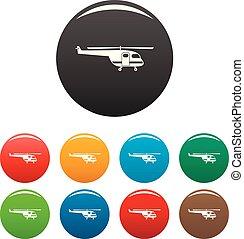 cor, helicóptero, jogo, salvamento, ícones