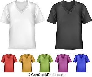 cor, homens, pólo, pretas, t-shirts., template., vetorial, desenho, branca