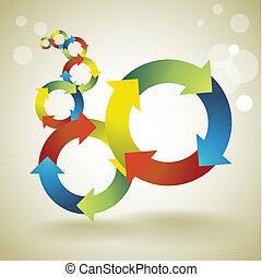 cor, -, ilustração, símbolos, conceito, fundo, modelo, recicle