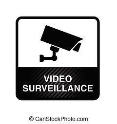 cor, ilustração, vigilância, vídeo, pretas, ícone