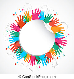 cor, impressão, círculo, mão