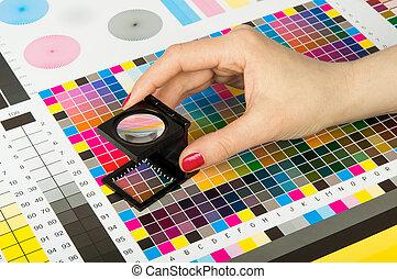 cor, impressão, gerência, producao