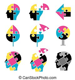 cor, impressão, quebra-cabeça, ícones
