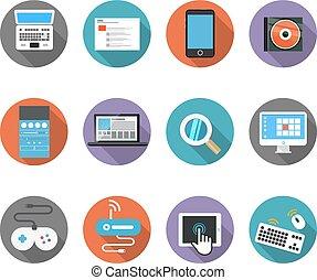 cor, interface, ícones