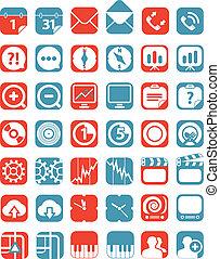 cor, interface, tabuleta, cobrança, ícones