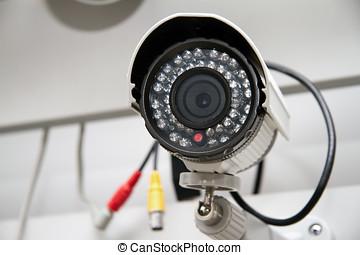 &, cor, ip, câmera vigilância, noturna, dia