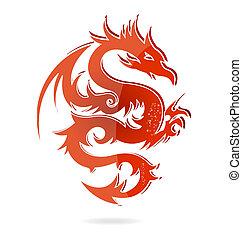 cor, isolado, ásia, dragão, vidro, vermelho