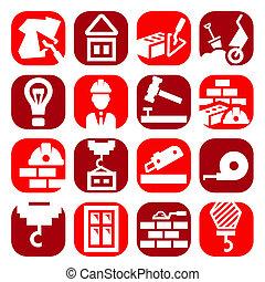 cor, jogo construção, ícones