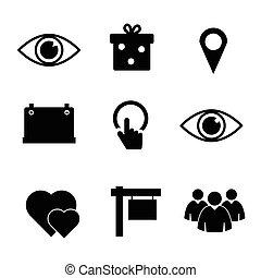 cor, jogo, pretas, ilustração, ícone
