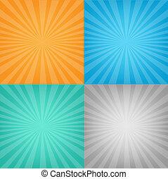 cor, jogo, sunburst, fundo
