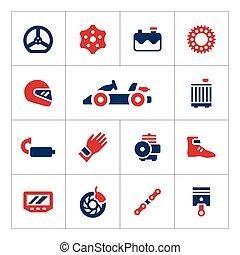 cor, karting, jogo, ícones