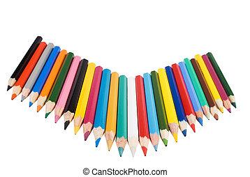cor, lápis, branca, lote, fundo
