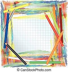 cor, lápis, fundo