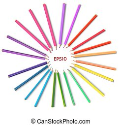 cor, lápis, isolado, branco, experiência.