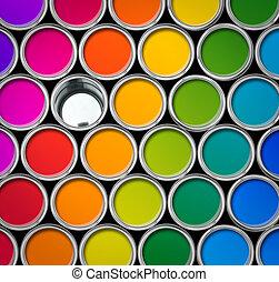 cor, lata pintura, latas, vista superior