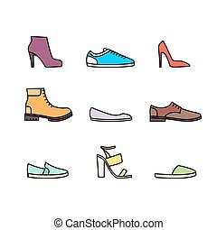 cor, linear, jogo, ícone, sapatos