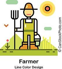 cor, linha, agricultor, ícone