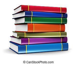 cor, livros, pilha