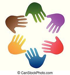 cor, logotipo, ao redor, mãos