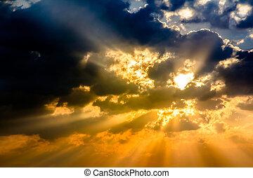 cor, luz, céu, raio sol, crepúsculo, nuvem, raio